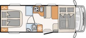 Distribución interior en la Autocaravana Integral